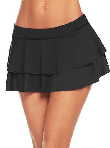Avidlove Women Schoolgirl Pleated Sexy Mini Cosplay Skirt Ruffle Lingerie (Black,M) (Plaid Mini Skirt Sexy)