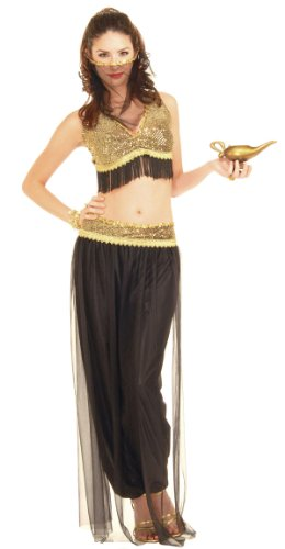 Black and Gold Belly Dancer Costume - Womens (Jasmine And Aladin Costume)