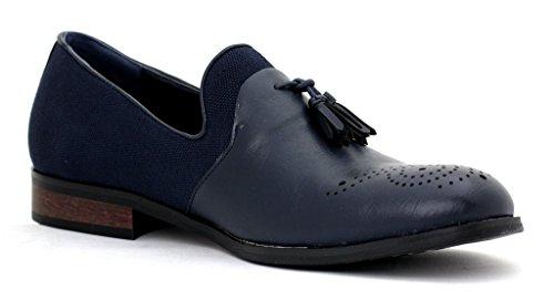 hombre nuevo Vestido Inteligentes Sin Cierres Borla Diseñador Mocasines Informales Bajo resistente zapatos número GB Azul Marino