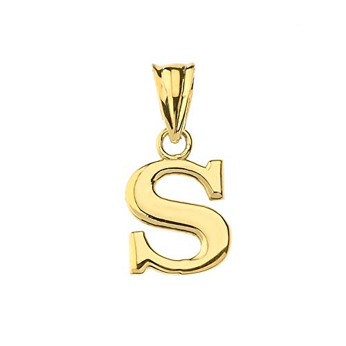 (Fine Personalized Initial S Charm Pendant in Solid 10k Yellow Gold)