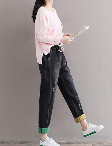Pantalones Sólido Yfltz Black Aumento Color Mujeres De Harén Algodón Para Alto BW0a0Tdwxq