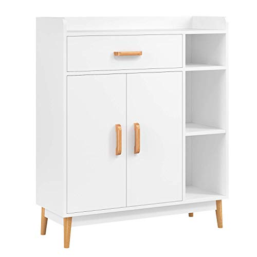 HOMFA Sideboard Storage Cabinet, Free Standing Cupboard Chest Room Display Unit Entryway Cabinet 1 Drawer 2 Doors 3 Shelves with Legs Decor Dining Furniture for Home, White (Unit Drawer Storage Rattan)