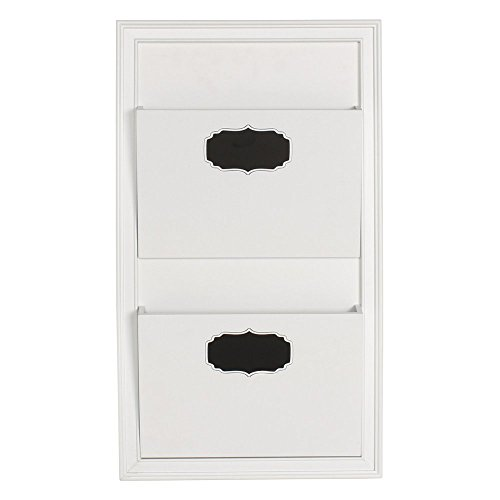 DesignOvation Walcott Decorative Wall Organizer Mail Holder with Two Pockets (White) (Decorative Office Wall Organizer)