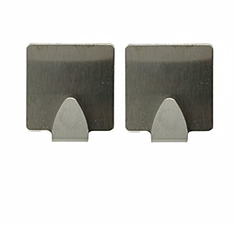 Tomota Stainless Steel Strong Adhesive Wall Hooks (Set of 2pcs), Easy To Install And Remove - Strong & Durable, Max Load 1KG (Square)