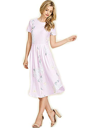 Floral Lilac Dress - SHOPGLAMLA Floral Print Round Neck Hem Flared Short Sleeves Pocket Mid Dress Pretty Bloom Floral - Lilac M