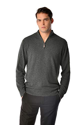 Cashmere Boutique: Men's 100% Pure Cashmere Half Zip Sweater (Color: Charcoal Gray, Size: Large) ()