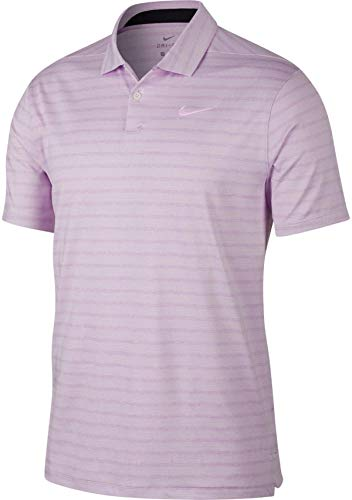 NIKE Dry Fit Vapor Stripe Golf Polo 2019 Lilac Mist Medium