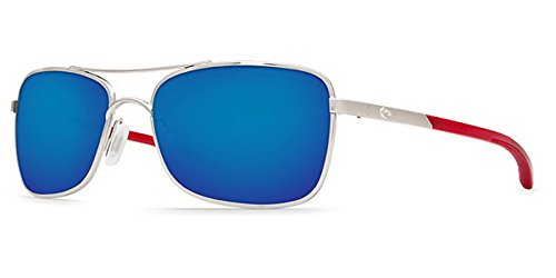 Palladium Crystal Sunglasses - Costa Del Mar Palapa AP 83 Palladium With Crystal Red Temples Sunglasses for Womens - Size 400G (Blue Mirror Lens)