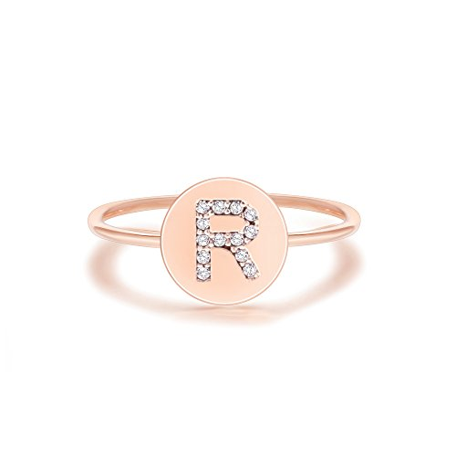 14k Personalized Ring Gold Name - PAVOI 14K Rose Gold Plated Initial Ring Stackable Rings for Women | Fashion Rings - R Ring