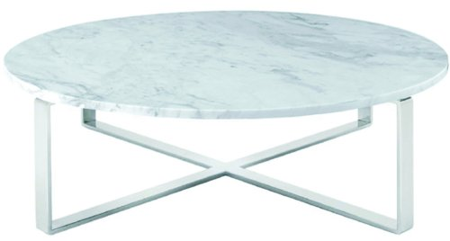Nuevo Rosa Round Marble Top Coffee Table in White