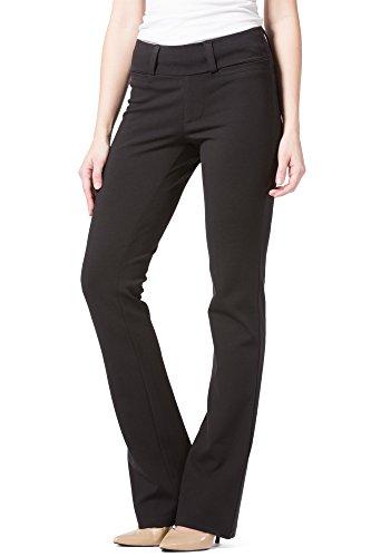 Fishers Finery Women's Ponte Stretch Boot Leg Dress Pant; Pull On (Black, (Organic Wide Leg Pant)