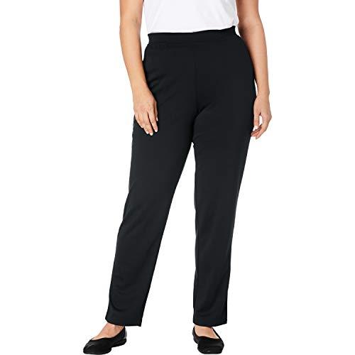 Woman Within Women's Plus Size Straight Leg Ponte Knit Pant - Black, 16 W