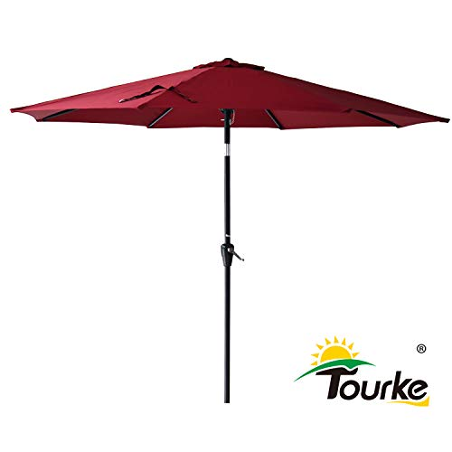 (Tourke 9 Ft Patio Table Umbrella Outdoor Umbrella with Push Button Tilt and Crank, 8 Steel Ribs, for Garden, Deck, Backyard, Swimming Pool and More(Wine) )