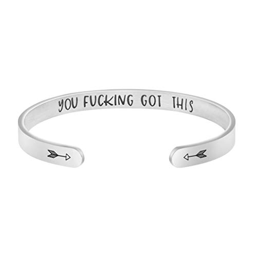 Joycuff Bangle Bracelets for Women Birthday Gifts for Her Silver Cuff Bangle Personalized Mantra Inspirational Daily Reminder (You Fucking got This)