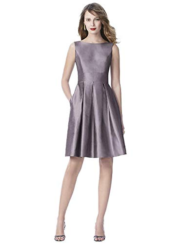 (Women's Sleeveless Cocktail Length Silk Dress w/Inset Waistband and Pockets - Shadow - Size 18)