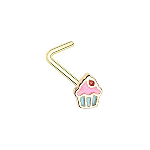Covet Jewelry Golden Icing to My Cupcake L-Shape Nose Ring