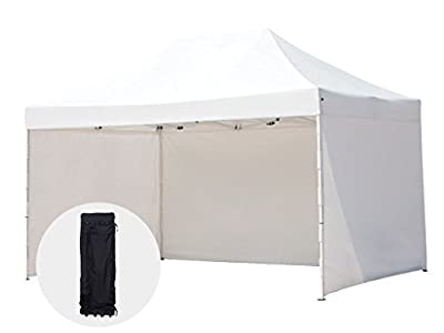 Abba Patio 10 x 15-Feet Outdoor Pop Up Portable Shade Instant Folding Canopy with 4 Sidewalls and Roller Bag, White