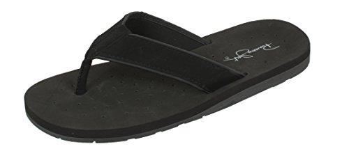 Panama Jack Men's Surfside Synthetic Suede Casual Flip Flop Sandal, Black,Large/Size 10-11 ()