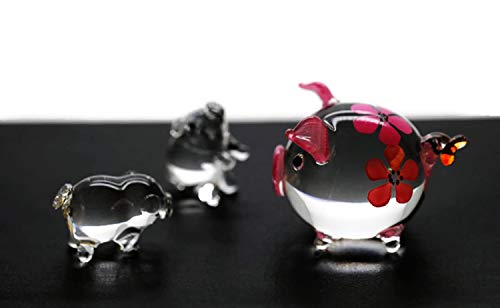 ChangThai Design 3 Pcs Pink Pig Balloon Flower HandBowl Glass Dollhouse Miniatures Decoration Figurine -