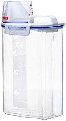 米びつ 保存容器 計量カップで気密なデザインとライスストレージコンテナは3のパントリー組織セット用の注ぎ口 米粉シリアルキッチン収納用 (Color : Transparent, Size : Free)