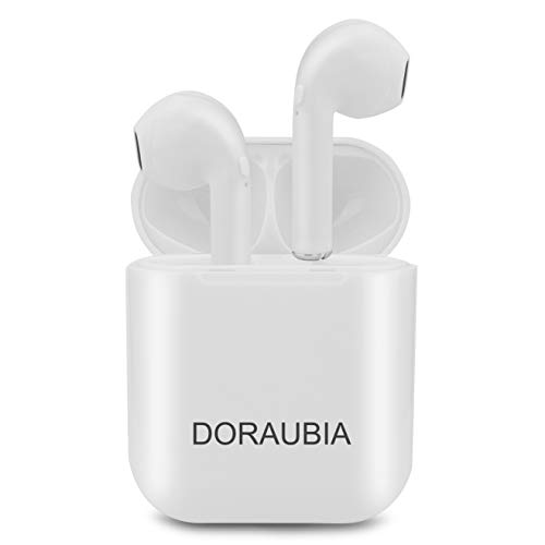 Doraubia Bluetooth Dual Earbuds In-Ear Sports Sweat-Proof Mini Headsets Noise Reduction Wireless Headphone with 400MAH Charging Case, Suitable for All Smart Phones