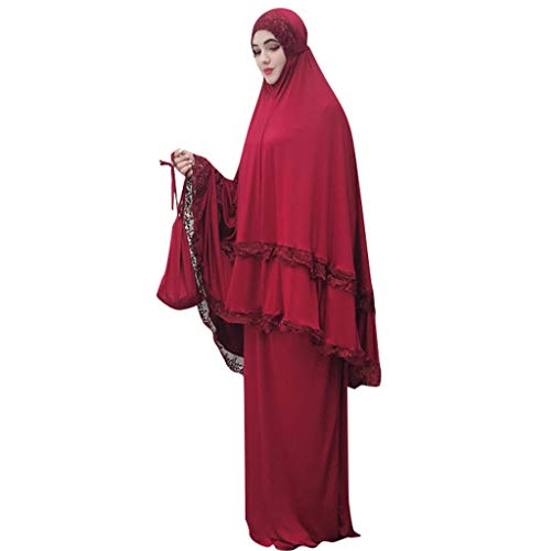2 Piece Jilbab/Khimar & Skirt Set in Breathable Soft Nida Fabric, Free Size, Batwing ()