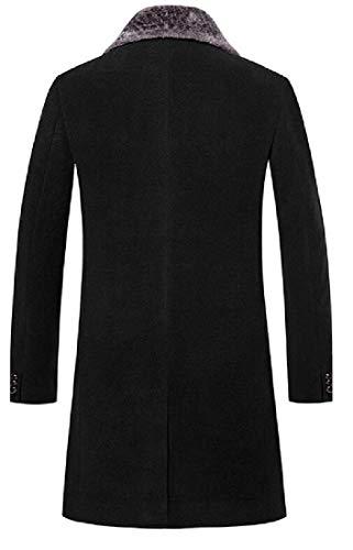 Sweetmini Hommes Slim Laine Blend Revers Simple Bouton Outwear Peacoats - Noir - X-Small