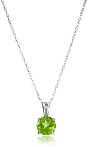 (Amazon Essentials Sterling Silver Round Cut Peridot Birthstone Pendant Necklace (August), 18