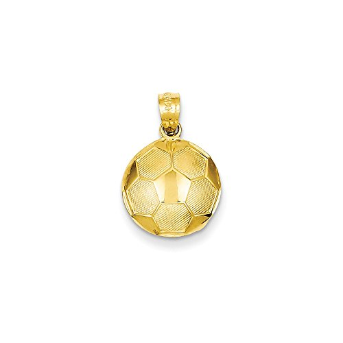 14k Gold Soccer Ball Pendant (0.75 in x 0.47 (Gold Ball Pendant)