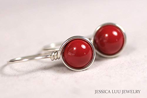 (Sterling Silver Red Coral Earrings Swarovski Pearl Wire Wrapped Earrings)