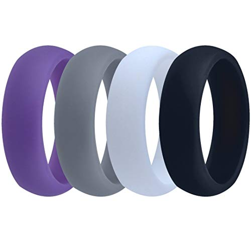 Womens Valentine's Day Gift-Silicone Wedding Ring Band - 4 Rings Pack - 5.5mm Wide (2mm Thick) - Purple, Grey, Black, White (Hers And Bands Wedding Names His)