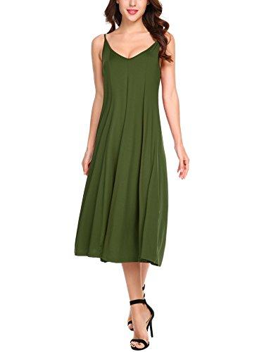 HOTOUCH - Vestido - trapecio - Básico - Sin mangas - para mujer Typ1_Armee Grün