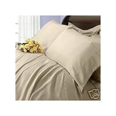 Solid Beige King Size 450 Thread Count Sheet Set, 100% Egyptian Cotton Deep Pocket Bed Sheets 450TC