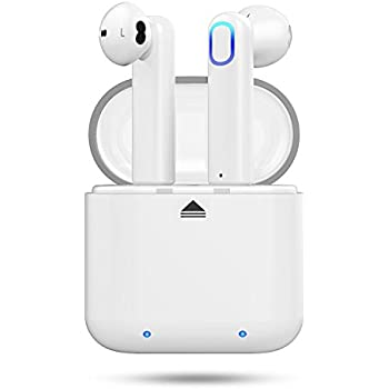 Wireless Earbuds,Cshidworld Bluetooth Headphones Mini In-Ear Headsets Sports Earphone with Noise Cancelling Built-in Mic and Charging Case for iPhone Samsung and Most Smartphones,White