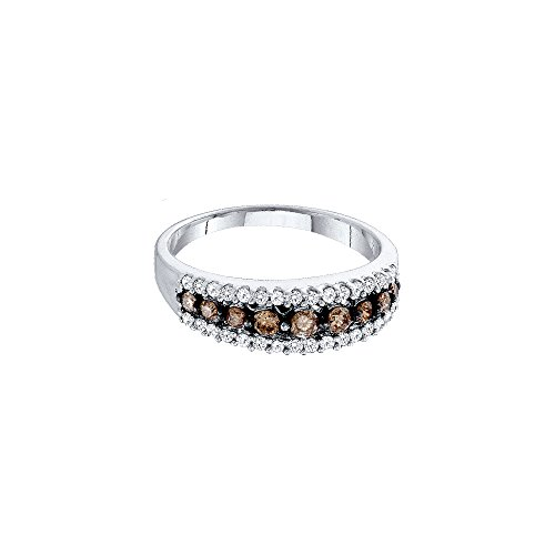 14k White Gold Round Chocolate Brown Diamond Band Ring (1/2 Cttw)