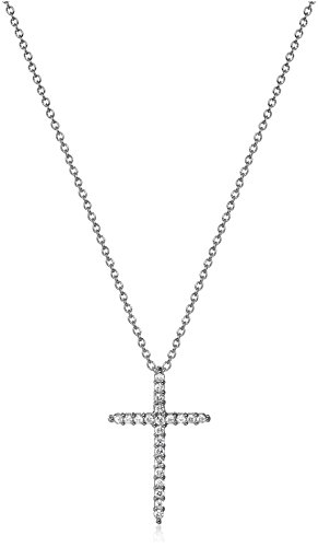 Roberto Coin Tiny Treasures 18k White Diamond Sliver Cross Pendant Necklace (1/10cttw, G-H Color, SI1 Clarity) (/ Roberto Necklace 18k Coin Diamond)