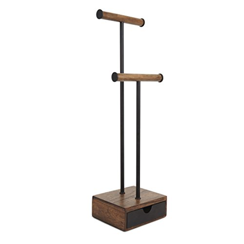 Umbra Pillar Jewelry Stand/Jewelry Organizer Walnut and Black Metal Jewelry Stand With Drawer