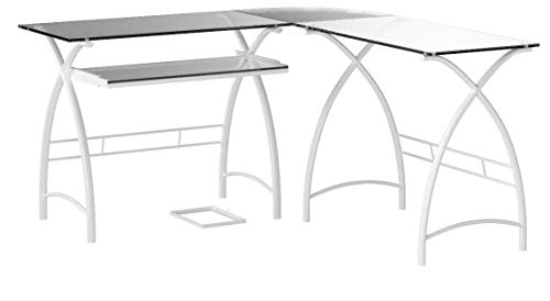 Ryan Rove Stillman 3-Piece Corner L-Shaped Computer Desk in Silver