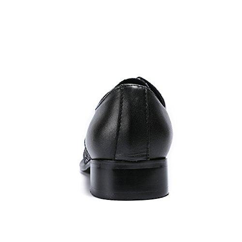 Lacets Partie Cuir À pour Robe Affaires Black Bout Formelles Métallique MSFS des Hommes en 1x7wxqf6