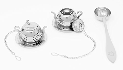 LuvlyTea Loose Leaf Tea Infuser Including Tea Scoop and Drip Trays - Best Premium Stainless Steel Strainer & Steeper! Mini TeaPot (Set of 2)