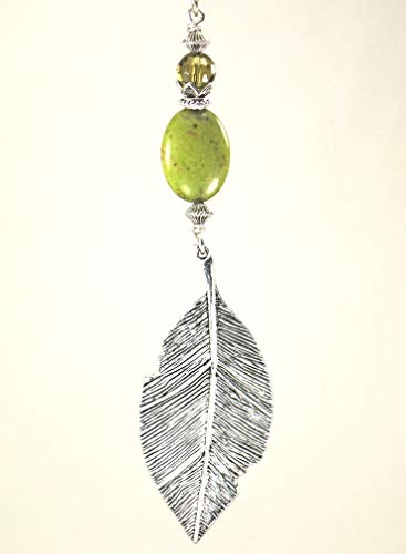 - Large 3-inch long silvery leaf with semi-precious stone and green faceted glass ceiling fan pull chain