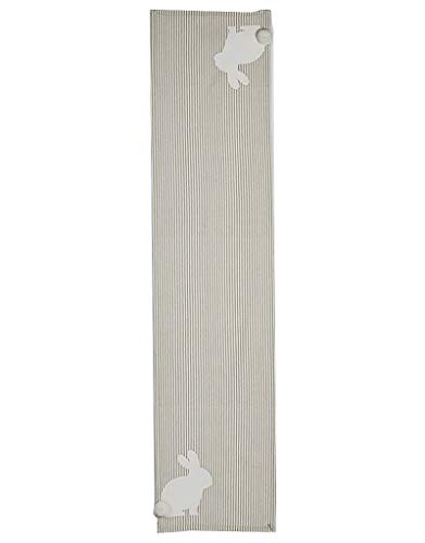 Mud Pie 43900007 Easter Bunny Farmhouse Striped Ticking Table Runner, One Size, Tan (Easter Bunny Table Runner)