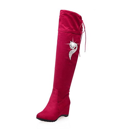 AgooLar Damen Überknie Hohe Stiefel Rein Ziehen auf Rund Zehe Mittler Absatz Stiefel, Rot, 39
