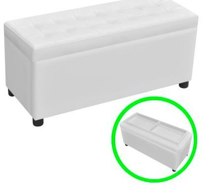 SKB Family Storage Ottoman Artificial Leather White Button-tufted by SKB family