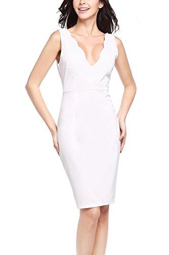 速記感じる音楽家女性のノースリーブ v ネック ボディコン ドレス White LH777-1-White-XXL