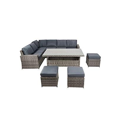 XHTANG Rattan Outdoor Dining Set 9 Seater