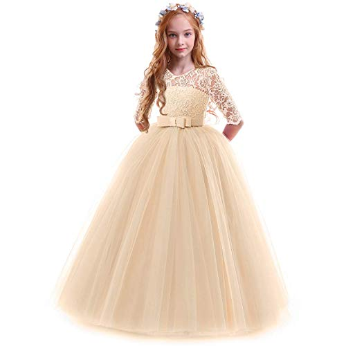 IBTOM CASTLE Spring Flower Girl Wedding Bridesmaid 3/4 Sleeves Kids Floral Lace Pageant Communion Princess Dress Prom Evening Dance Gown Champagne 7-8 Years