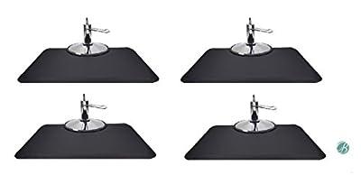 Berkeley Rectangle Salon Mat 3' x 4' (Set of 4) BLACK Anti-fatigue Mat for Salon or Barber Shop