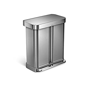 simplehuman 58 Liter/15.3 Gallon Stainless Steel Dual Compartment Rectangular Kitchen Step Trash Can with Liner Pocket, Brushed Stainless Steel