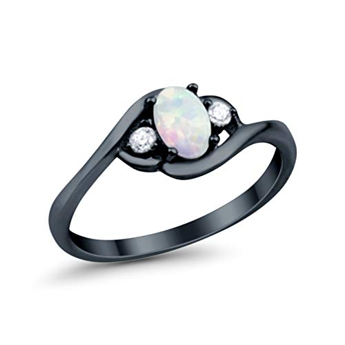 925 Sterling Silver Oval Cut Created White Opal Ring Black Tone Round Cubic Zirconia Wedding Ring, Size - 7